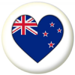 New Zealand Country Flag Heart 25mm Pin Button Badge